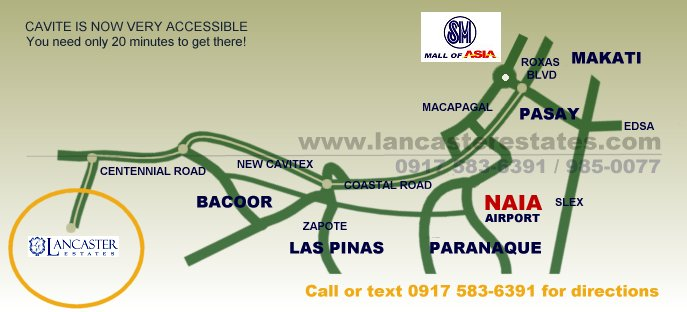 Lancaster Estates Map and Directions - House and lot for sale in Cavite Philippines